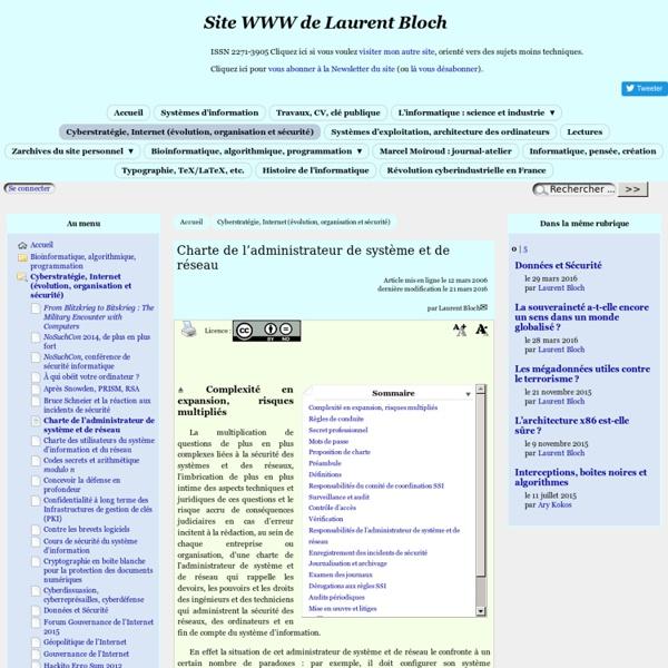 Une charte de l'administrateur de système et de réseau