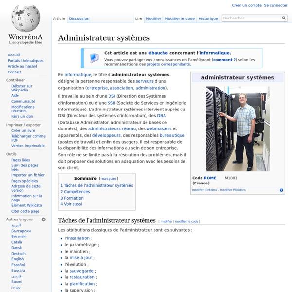 Wikipédia - Administrateur systèmes