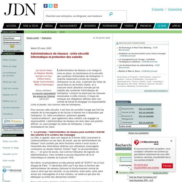 Administrateurs de réseaux : entre sécurité informatique et protection des salariés par Me Sylvain Staub et Stéphane Marletti