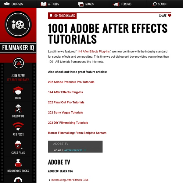 1001 Adobe After Effects Tutorials