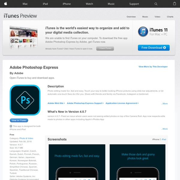Adobe Photoshop Express for iPhone, iPod touch, and iPad on the iTunes App Store