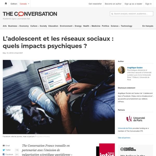 L'adolescent et lesréseaux sociaux: quels impacts psychiques?