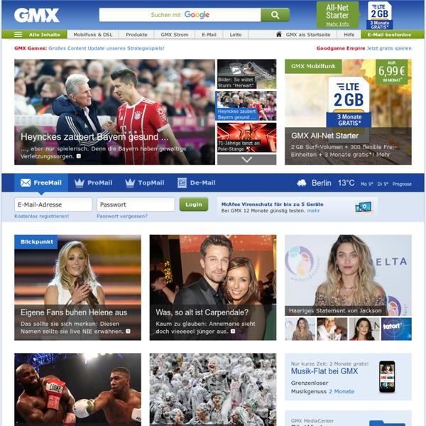 GMX - E-Mail, FreeMail, De-Mail, Themen- & Shopping-Portal - kostenlos