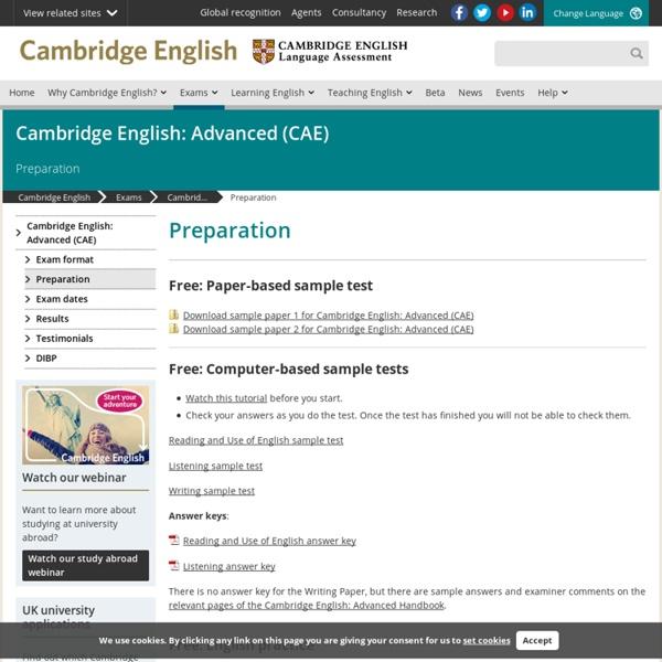 Advanced (CAE) preparation