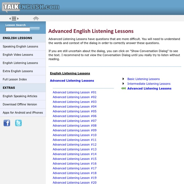 Advanced Listening English Lessons For English and ESL Learners