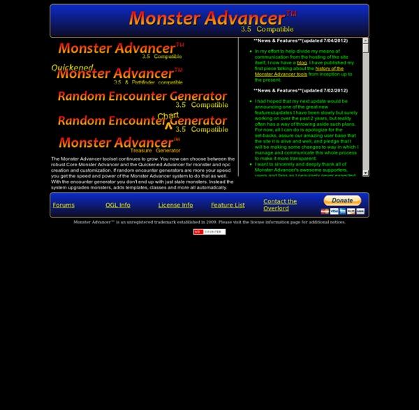 Monster Advancer 3.5 - Monster, NPC, and random encounter generator for D&D 3.5
