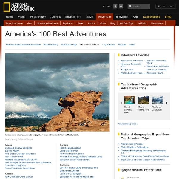 America's 100 Best Adventures, State-by-State List