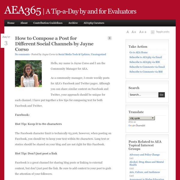 AEA365 - American Evaluation Association - Post a day by and for evaluators