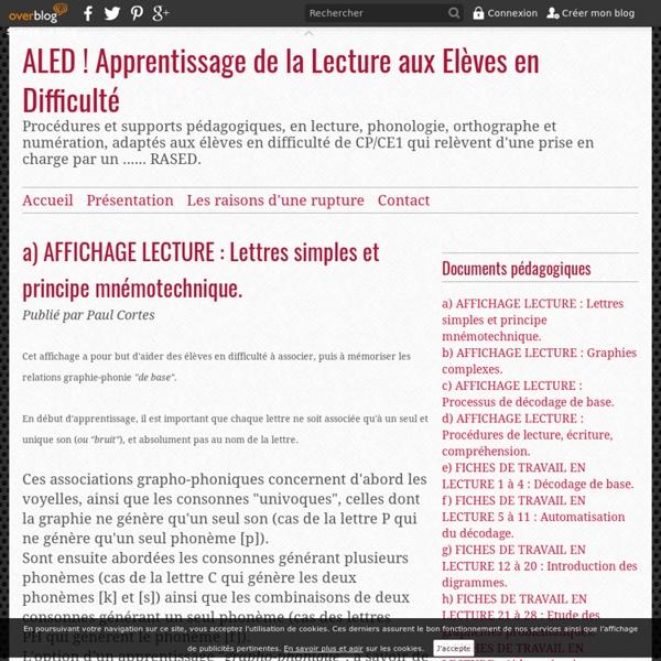 A) AFFICHAGE LECTURE : Lettres simples et principe mnémotechnique. - ALED ! Apprentissage de la Lecture aux Elèves en Difficulté