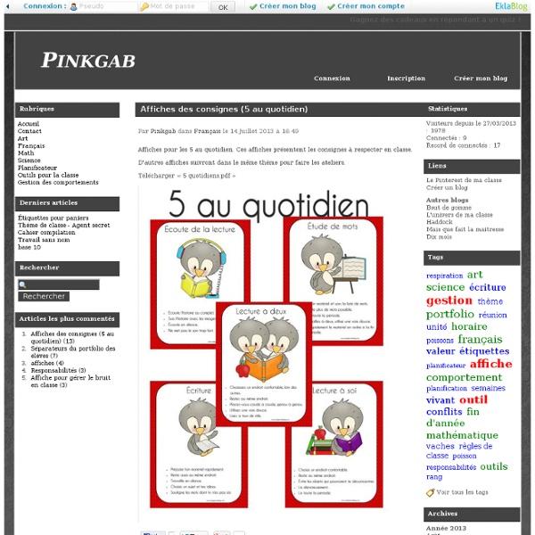 Affiches des consignes (5 au quotidien) - Pinkgab