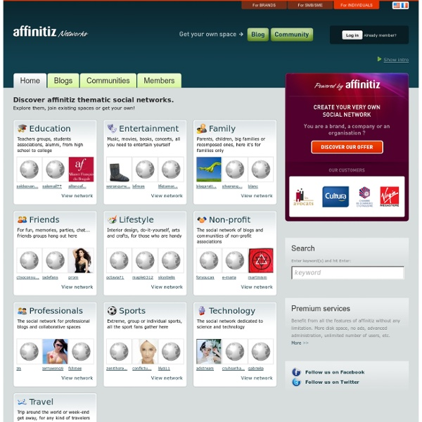 Discover affinitiz thematic social networks, blogs and communities