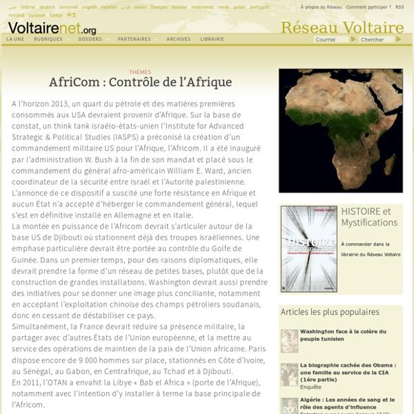 AfriCom : Contrôle de l'Afrique