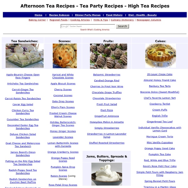 Tea Party Recipes Afternoon English High Victorian Receipes Menu