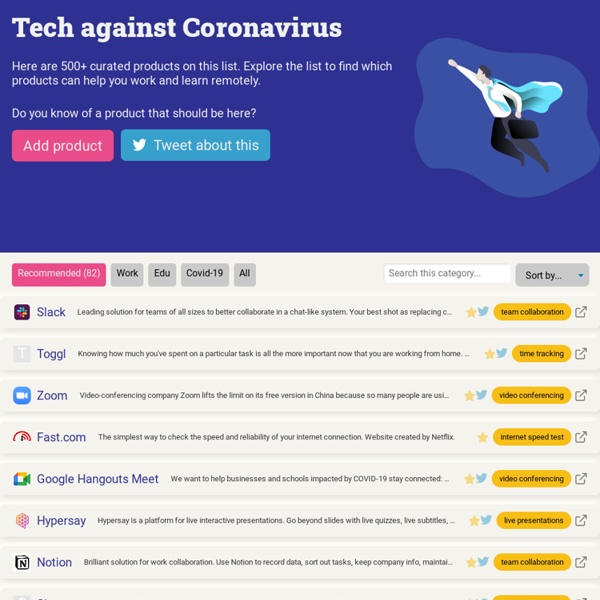 Tech against Coronavirus - a list to work and learn remotely