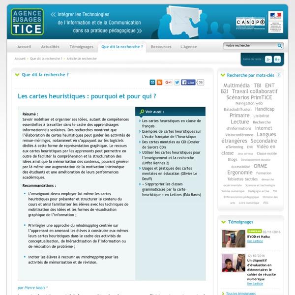 Les cartes heuristiques : pourquoi et pour qui ? - L'Agence nationale des Usages des TICE