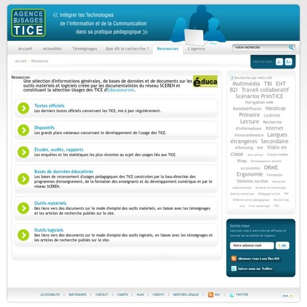 L'Agence nationale des Usages des TICE - Ressources