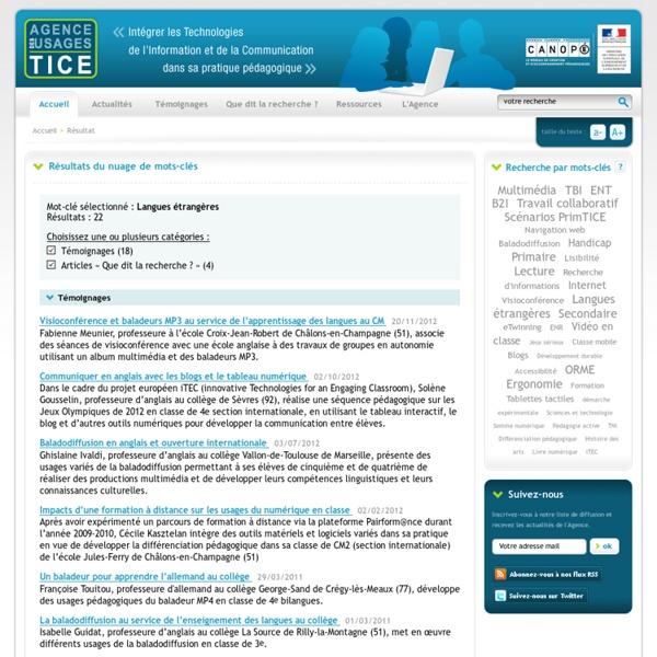 L'Agence nationale des Usages des TICE - Résultat de recherche