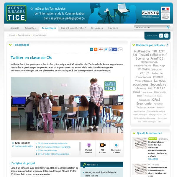 L'Agence nationale des Usages des TICE - Twitter en classe de CM