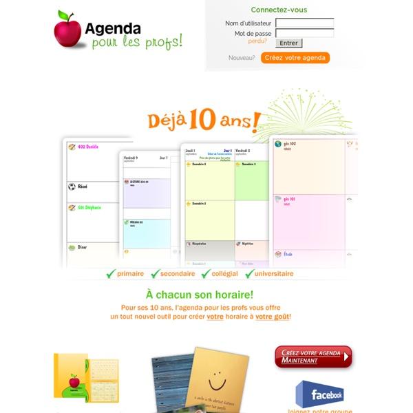 Agenda personnalisé pour les profs