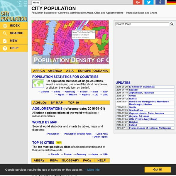City Population - Population Statistics in Maps and Charts for Cities, Agglomerations and Administrative Divisions of all Countries of the World