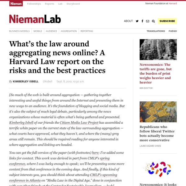 What's the law around aggregating news online? A Harvard Law report on the risks and the best practices