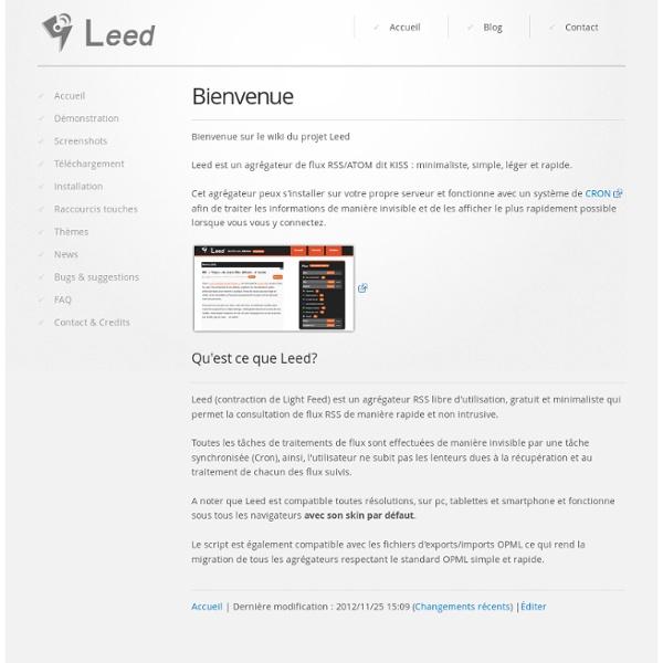 Leed, l'agrégateur RSS fitness ! - Accueil