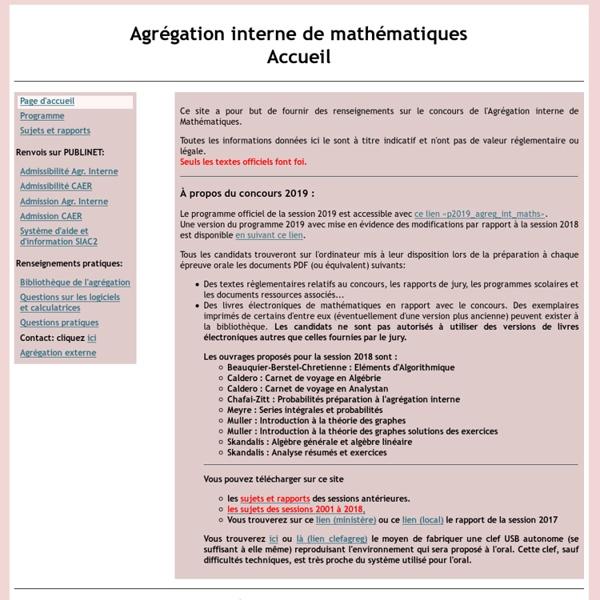 Agrégation interne de mathématiques: accueil