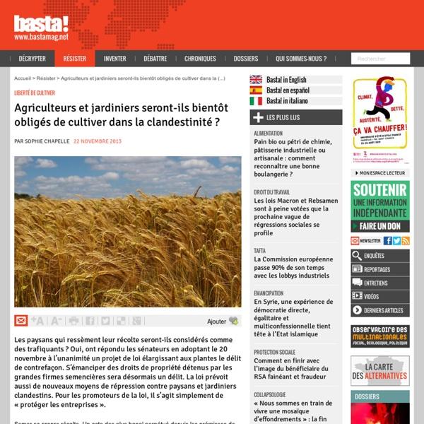 Agriculteurs et jardiniers seront-ils bientôt obligés de cultiver dans la clandestinité ?