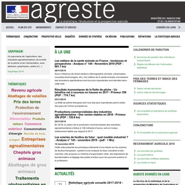 Ministère de l'agriculture, de l'agroalimentaire et de la forêt - Agreste - La statistique, l'évaluation et la prospective agricole