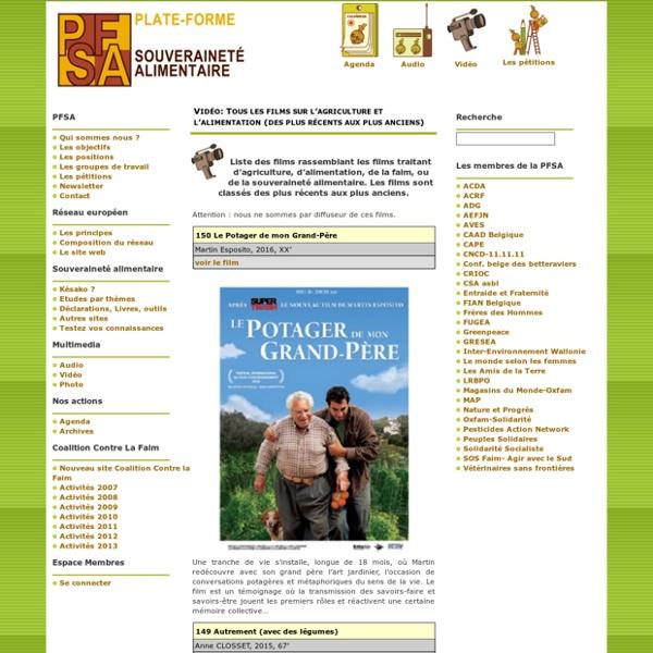 Tous les films sur l'agriculture et l'alimentation (des plus récents aux plus anciens)