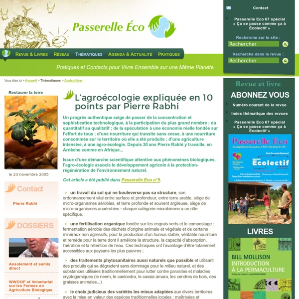 L'agroécologie expliquée en 10 points par Pierre Rabhi - Restaurer la terre - Agricultiver