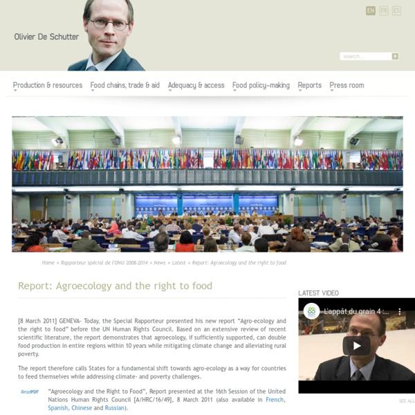 Rapport: agroécologie et droit à l'alimentation