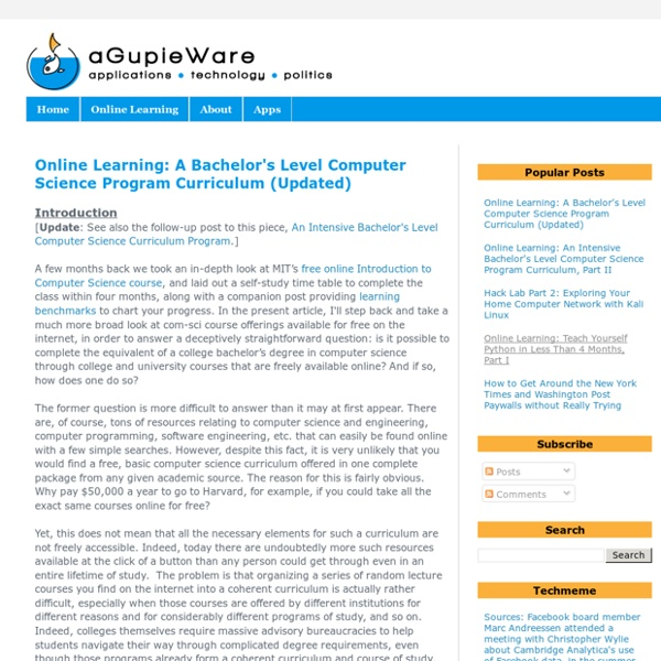 aGupieWare: Online Learning: A Bachelor's Level Computer Science Program Curriculum (Updated)
