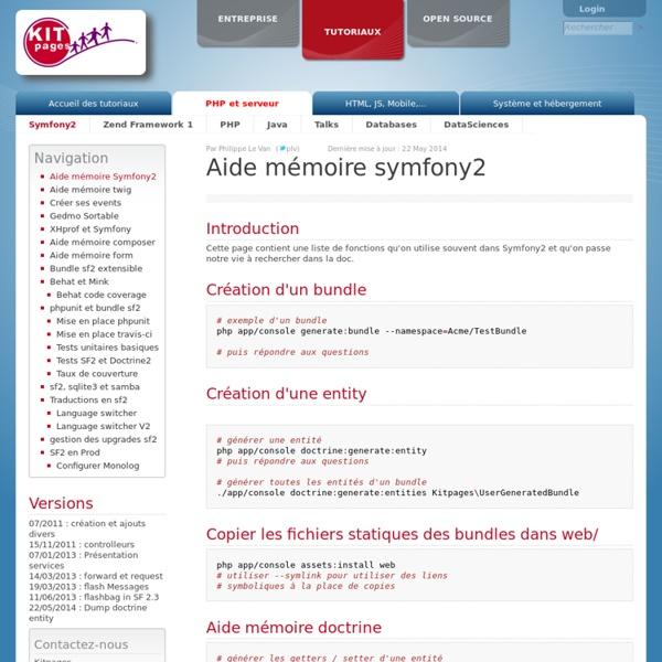 Aide mémoire symfony2