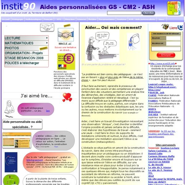 ASH, Aide personnalisée, instit90