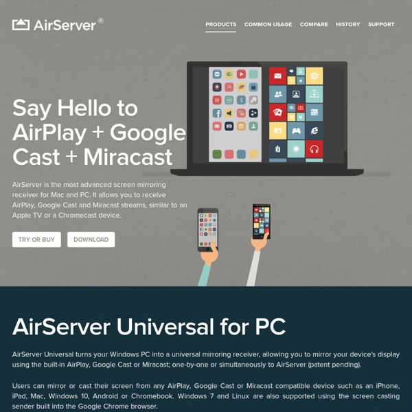 AirPlay, Mirroring and Miracast receiver for Mac OS X and Windows PC