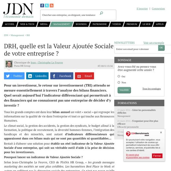 DRH, quelle est la Valeur Ajoutée Sociale de votre entreprise ?