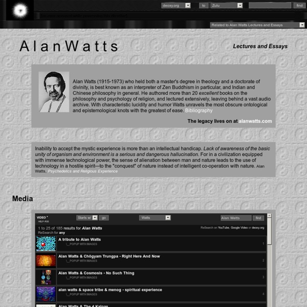 alan watts lectures essays Information about the late philosopher and spiritual teacher alan watts he also gave many lectures essays and lectures on the transformation of the.