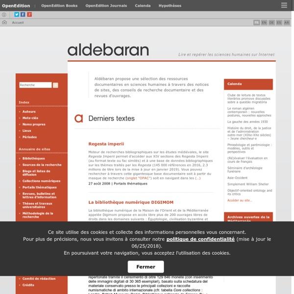 Aldébaran - Lire et repérer les sciences humaines sur Internet