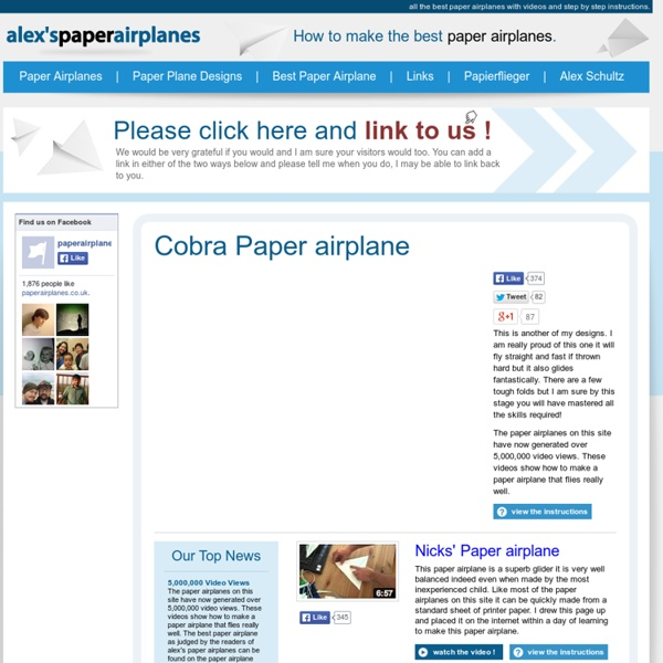 Alex's paper airplanes - how to make great paper airplanes