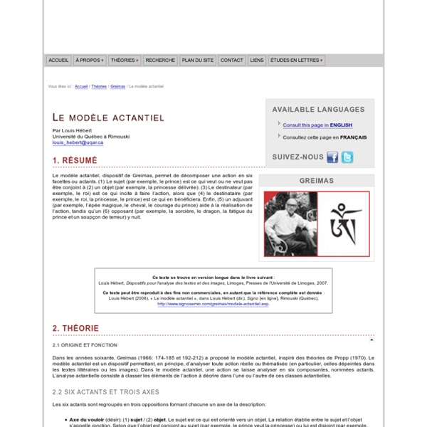 A. J. Greimas : Le modèle actantiel