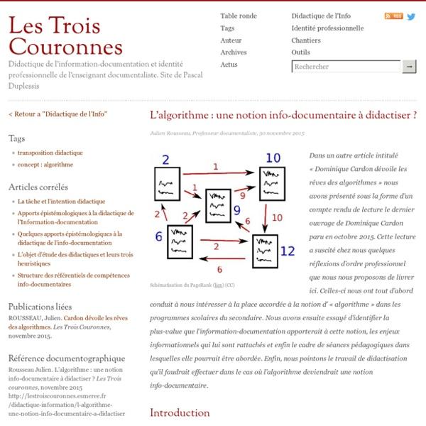 L'algorithme: une notion info-documentaire à didactiser?