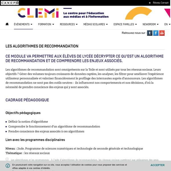 Les algorithmes de recommandation- CLEMI