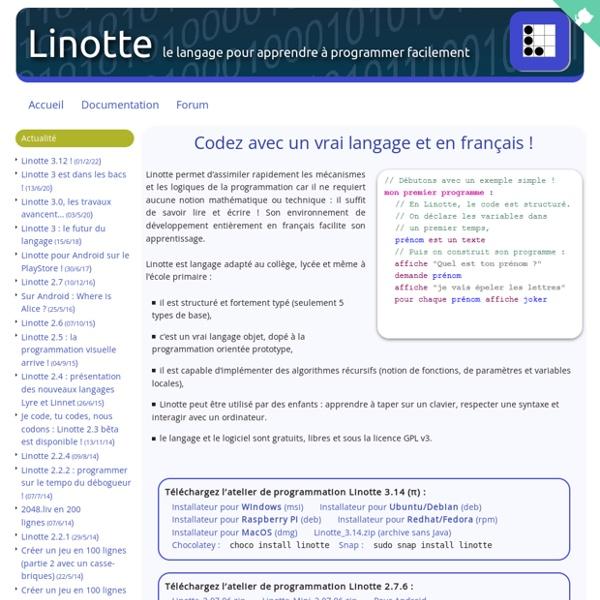 Linotte, l'algorithmique et la programmation facilement