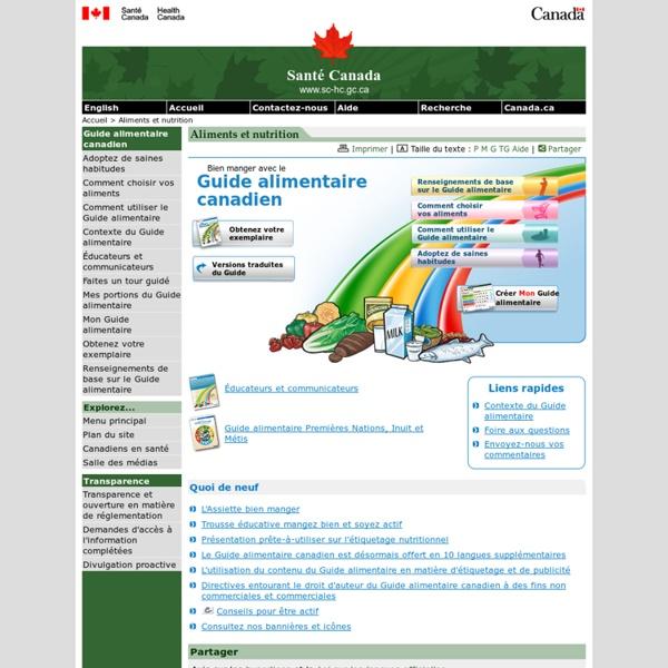 Bien manger avec le Guide alimentaire canadien - Page principale