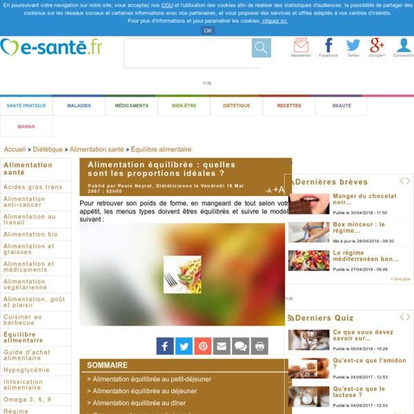 Alimentation équilibrée : quelles sont les proportions idéales ? avec e