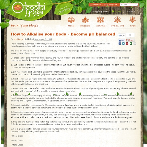 » How to Alkalise your Body – Become pH balanced » Bodhi Yoga