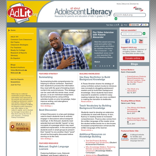 All About Adolescent Literacy