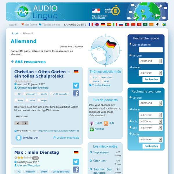 Allemand - Audio Lingua - mp3 en anglais, allemand, arabe, catalan, corse, espagnol, italien, russe, occitan, portugais, chinois et français