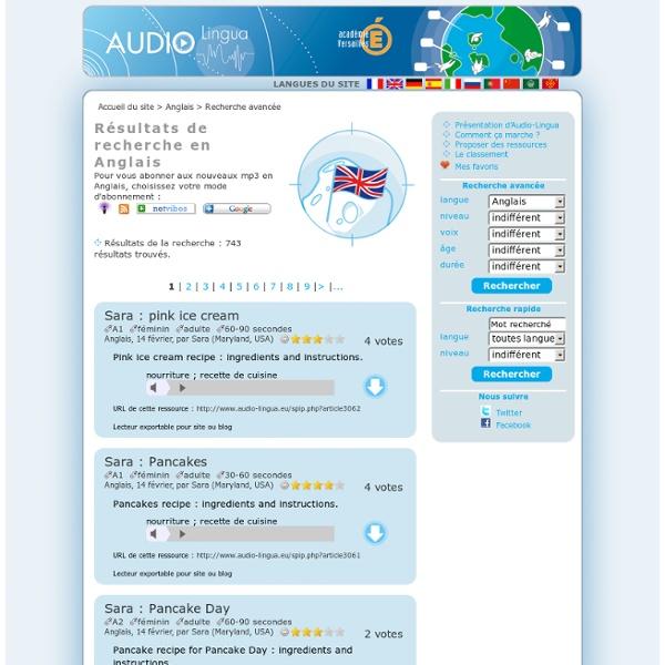 Audio Lingua - mp3 en anglais, allemand, espagnol, italien, russe, portugais, chinois et français